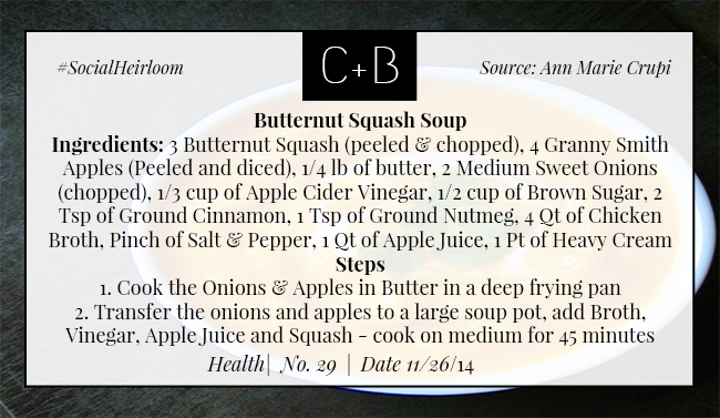 C+B Health Butternut Squash Soup Part 1 11.26.14