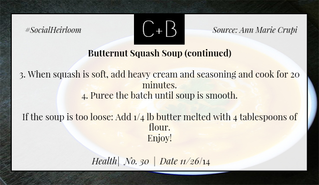 C+B Health Butternut Squash Soup Part 2 11.26.14