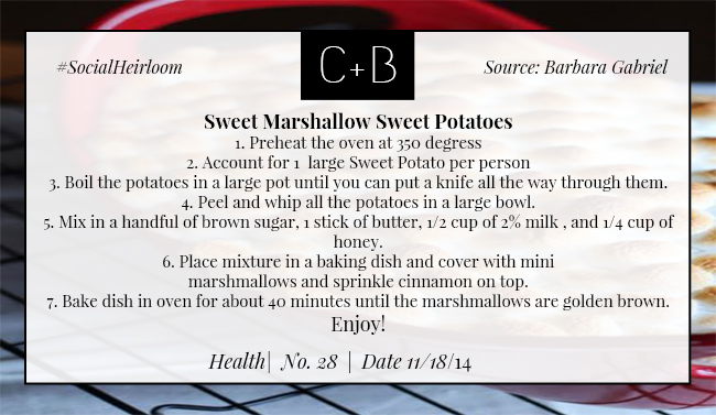 C+B Health Thanksgiving Sweet Potato Recipe 11.18.14
