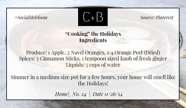 C+B Home Cooking Holiday Aroma 11.26.14